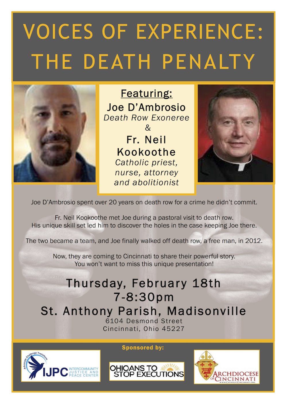 Voices of Experience: The Death Penalty @ St. Anthony Parish | Cincinnati | Ohio | United States